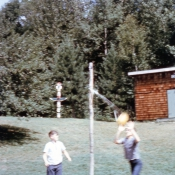 Tetherball by the Arts and Crafts Cabin
