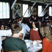 Campers sitting down to a meal in the Dining Hall